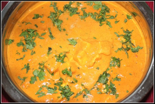 Garnish coriander leaves-delicious Shahi Paneer