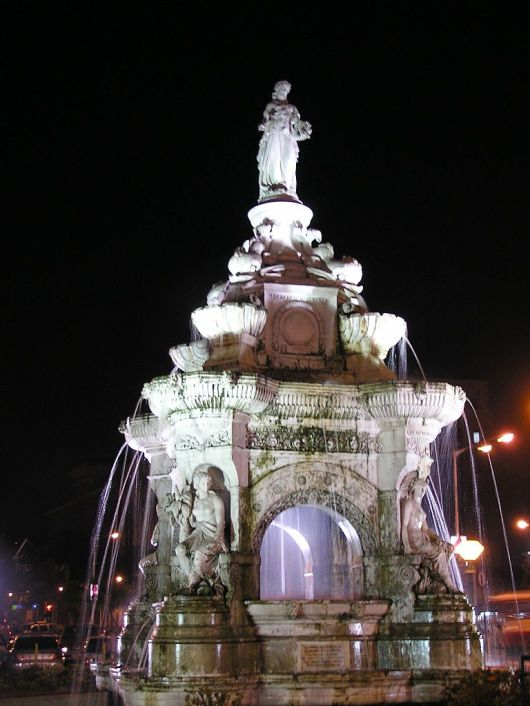 Flora Fountain At Night
